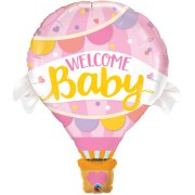 42 inch Welcome Baby Pink Hot Air Balloon Foil Balloon (1)