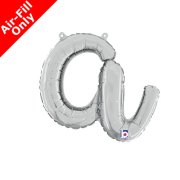Air-Fill Silver Script Letter A Foil Balloon (1)
