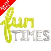 FUN TIMES - 16 inch Silver Letters & Lime Green Script Pack (1)
