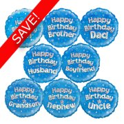 18 Inch Oaktree Blue Relatives Foil Balloon Pack 24 Balloons