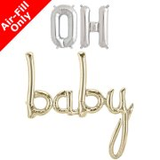 OH BABY - 16 inch Silver Foil Letters & White Gold Script Pack