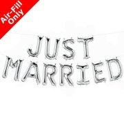 JUST MARRIED - 16 inch Silver Foil Letter Balloon Kit (1)