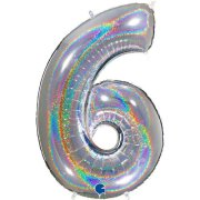40 inch Holo Glitter Silver Number 6 Foil Balloon (1)