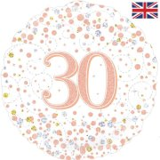 18 inch 30th Birthday White & Rose Gold Fizz Foil Balloon (1)