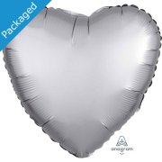 "18"" Platinum Satin Heart Foil Balloon (1)"
