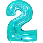 40 inch Holo Glitter Tiffany Blue Number 2 Foil Balloon (1)