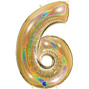 40 inch Holo Glitter Gold Number 6 Foil Balloon (1)