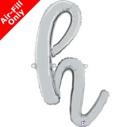 Air-Fill Silver Script Letter H Foil Balloon (1)