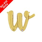 Air-Fill Gold Script Letter W Foil Balloon (1)