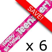 Pack of 6 Teenager Birthday Pink Banner - 2.7m