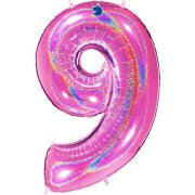 40 inch Holo Glitter Fuchsia Number 9 Foil Balloon (1)