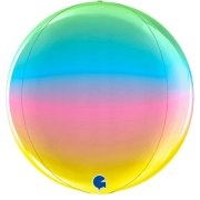 "15"" Globe Rainbow Foil Balloon (1) - UNPACKAGED"