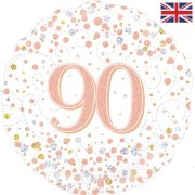 18 inch 90th Birthday White & Rose Gold Fizz Foil Balloon (1)