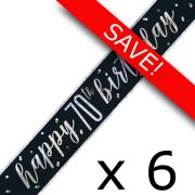 Pack of 6 70th Birthday Glitz Black & Silver Foil Banner - 9ft.
