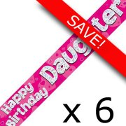Pack of 6 Daughter Birthday Pink Banner - 2.7m