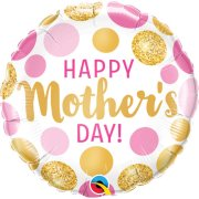 18 inch Mother's Day Pink & Gold Dots Foil Balloon (1)