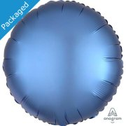 "18"" Azure Blue Satin Round Foil Balloon (1)"