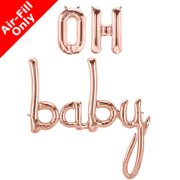 OH BABY - 16 inch Rose Gold Foil Letters & Script Pack (1)