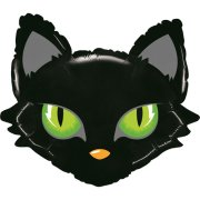 28 inch Mighty Bright Black Cat Head Foil Balloon (1)