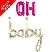 OH BABY - 16 inch Magenta Foil Letters & White Gold Script Pack
