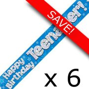 Pack of 6 Teenager Birthday Blue Banner - 2.7m