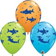 11 inch Fun Sharks Assorted Latex Balloons (25)
