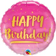 18 inch Birthday Gold & Pink Ombre Foil Balloon (1)