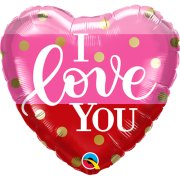 18 inch I Love You Gold Dots Foil Balloon (1)