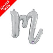 Air-Fill Silver Script Letter M Foil Balloon (1)