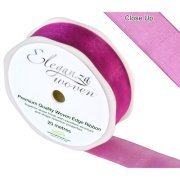 Fuchsia Woven Edge Ribbon - 25mm x 20m (1)
