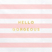 Hello Gorgeous Light Pink Striped Paper Napkins (20)