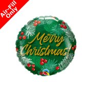 9 inch Christmas Greens & Berries Foil Balloon (1) - UNPACKAGED