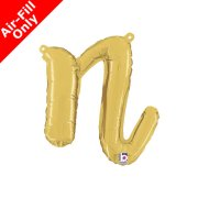 Air-Fill Gold Script Letter N Foil Balloon (1)