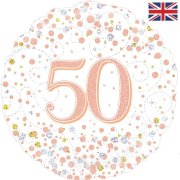 18 inch 50th Birthday White & Rose Gold Fizz Foil Balloon (1)
