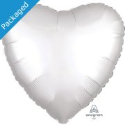 "18"" White Satin Heart Foil Balloon (1)"