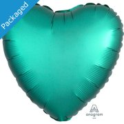 "18"" Jade Green Satin Heart Foil Balloon (1)"