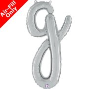 Air-Fill Silver Script Letter G Foil Balloon (1)