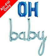 OH BABY - 16 inch Blue Foil Letters & Script Pack (1)