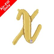 Air-Fill Gold Script Letter X Foil Balloon (1)