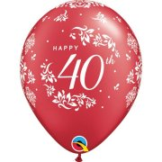 11 inch Red 40th Anniversary Damask Latex Balloons (25)