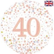 18 inch 40th Birthday White & Rose Gold Fizz Foil Balloon (1)