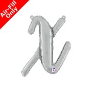 Air-Fill Silver Script Letter X Foil Balloon (1)