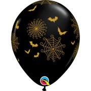 11 inch Spider Webs & Bats Latex Balloons (25)