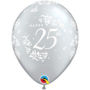 11 inch Silver 25th Anniversary Damask Latex Balloons (6)