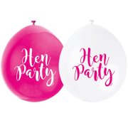9 inch Hen Party Neck Up Pink & White Latex Balloons (10)