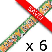 Pack of 6 Football Happy Birthday Foil Banner - 12ft.