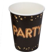 Glitz & Glamour Party Black Paper Cups (8)