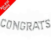 CONGRATS - 16 inch Silver Foil Letter Balloon Kit (1)