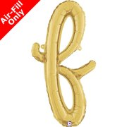 Air-Fill Gold Script Letter F Foil Balloon (1)