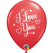 11 inch I Love You Hearts Script Red Latex Balloons (6)